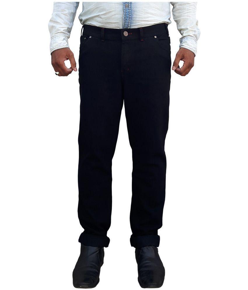 White Pelican Black Regular Fit Solid Jeans