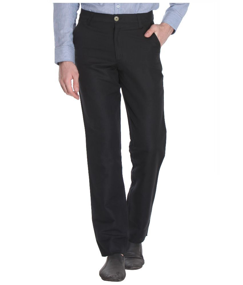 Reevolution Black Regular Fit Flat Trousers