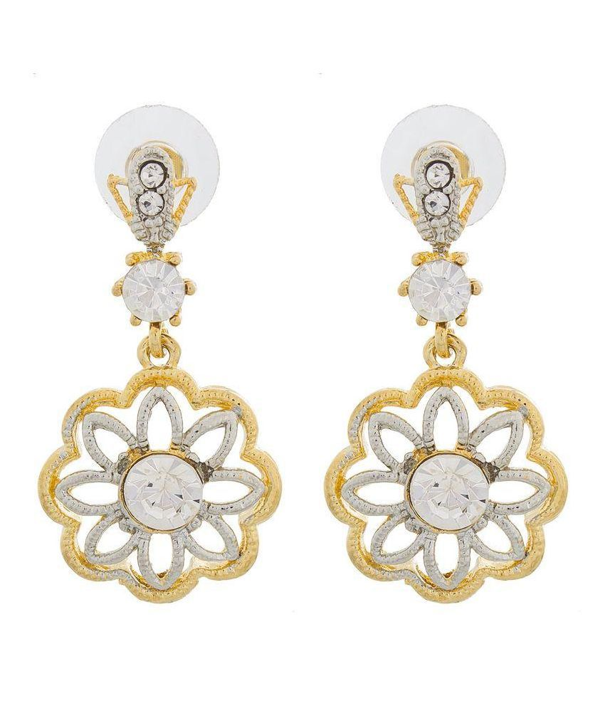 The Luxor Alloy Gold Plating American diamonds Studded Gold Coloured Earrings
