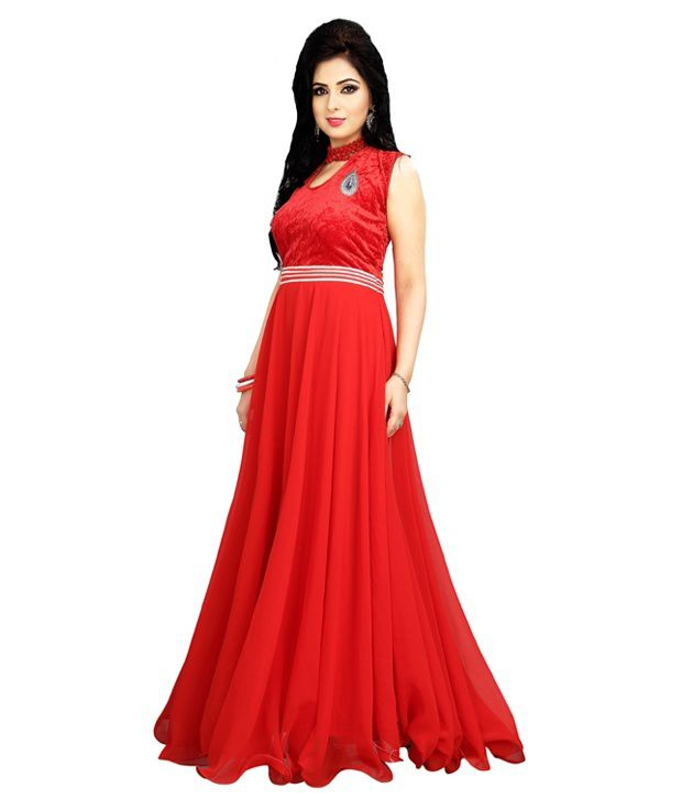 e15e88e9f 19 Likes Red Georgette Gowns - Buy 19 Likes Red Georgette Gowns Online at  Low Price - Snapdeal