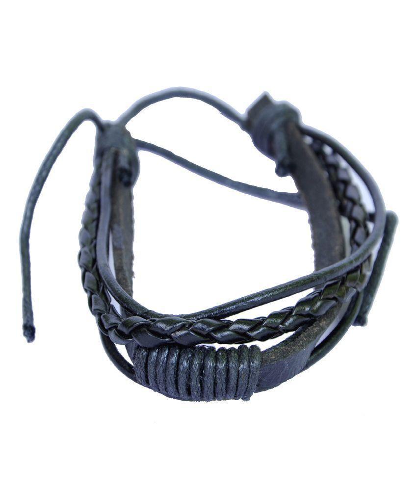 Haflingerr Black Leather Wrist Band