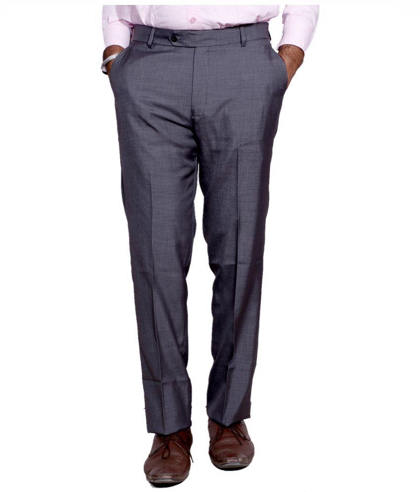 Indiweaves Grey Regular Fit Flat Trousers