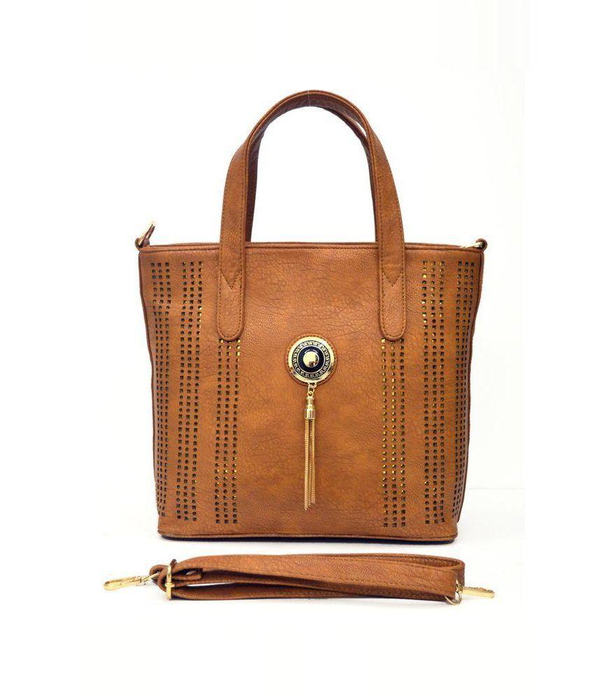 InkDice Beige Faux Leather Shoulder Bag