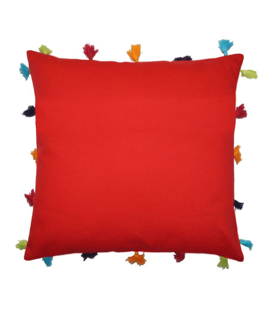 Lushomes Red Plain Cotton Cushion Cover
