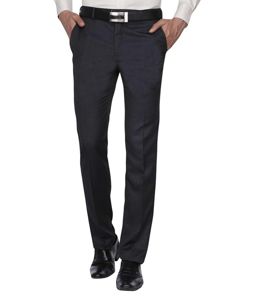 Park Avenue Blue Slim Fit Pleated Trousers