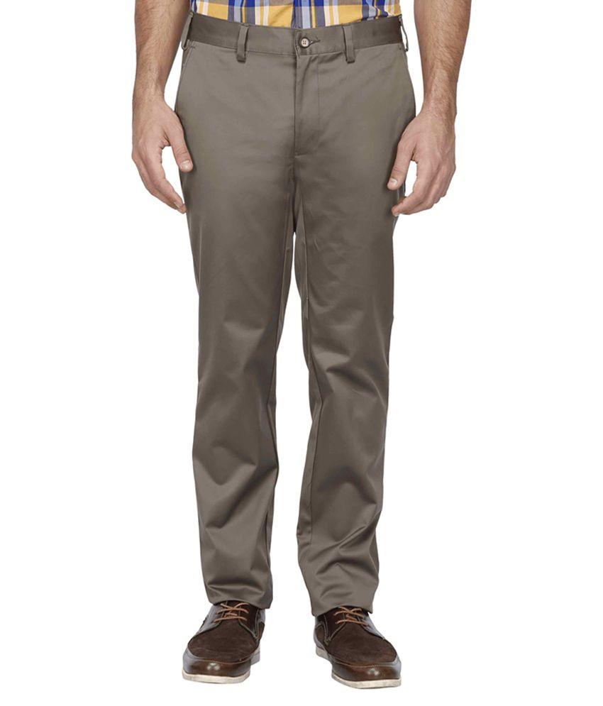 Park Avenue Grey Slim Fit Flat Trousers