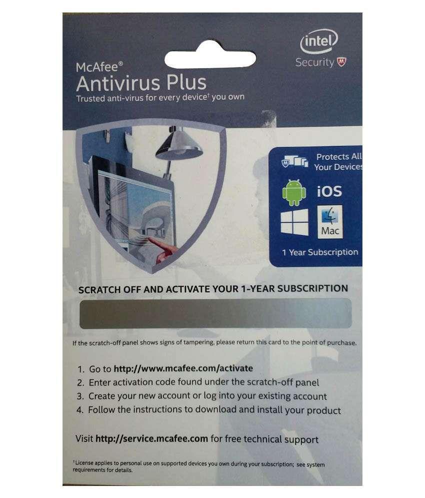 Mcafee Antivirus Plus Latest Version (1 PC/1 Year) (Activation Card)