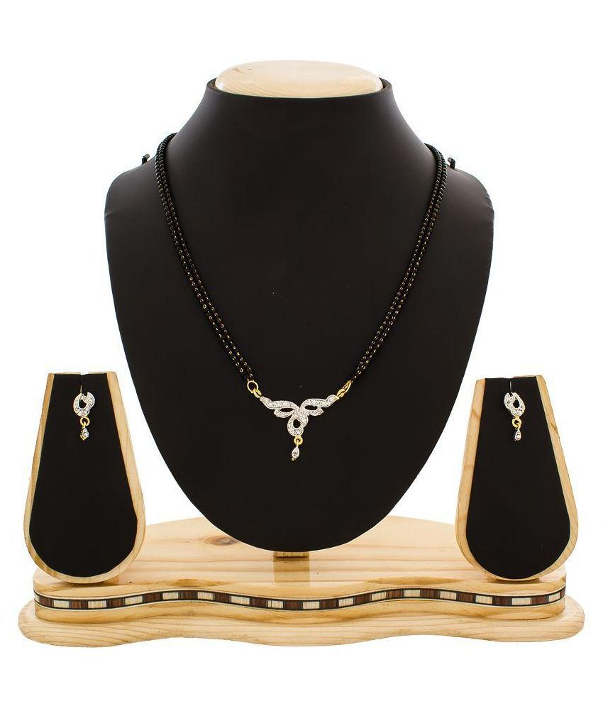 The Luxor Alloy Gold Plating American diamonds Studded Black Coloured Mangalsutra Set