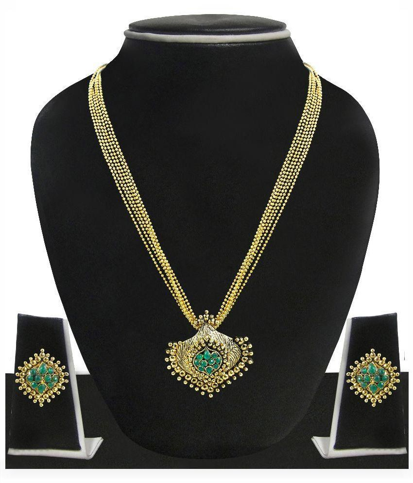 Zaveri Pearls Zinc Gold Plating kundan/Meenakari Studded Green Coloured Necklaces Set