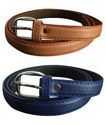 Verceys Multicolour Leather Belt for Women - Pack of 2
