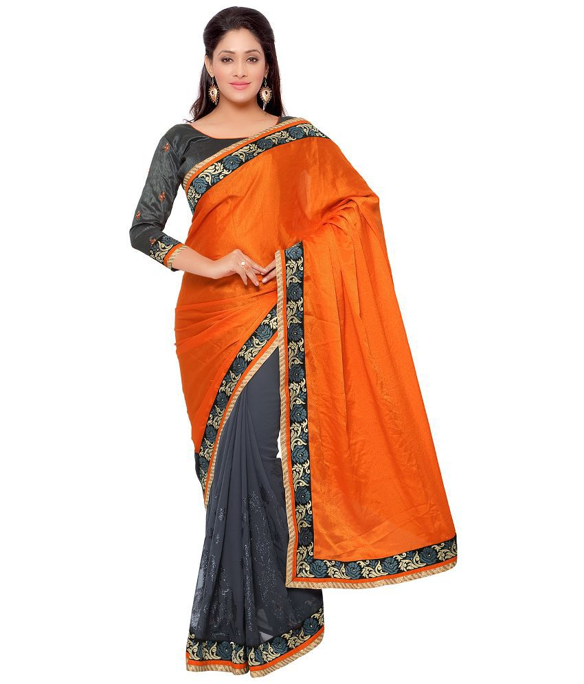 Apple Creation Orange Jacquard Saree