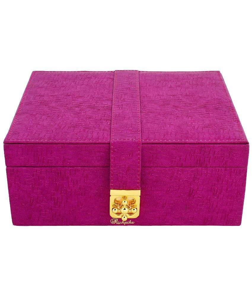 Richpiks Wood Oxidised Polki Studded Pink Coloured Jewellery Box