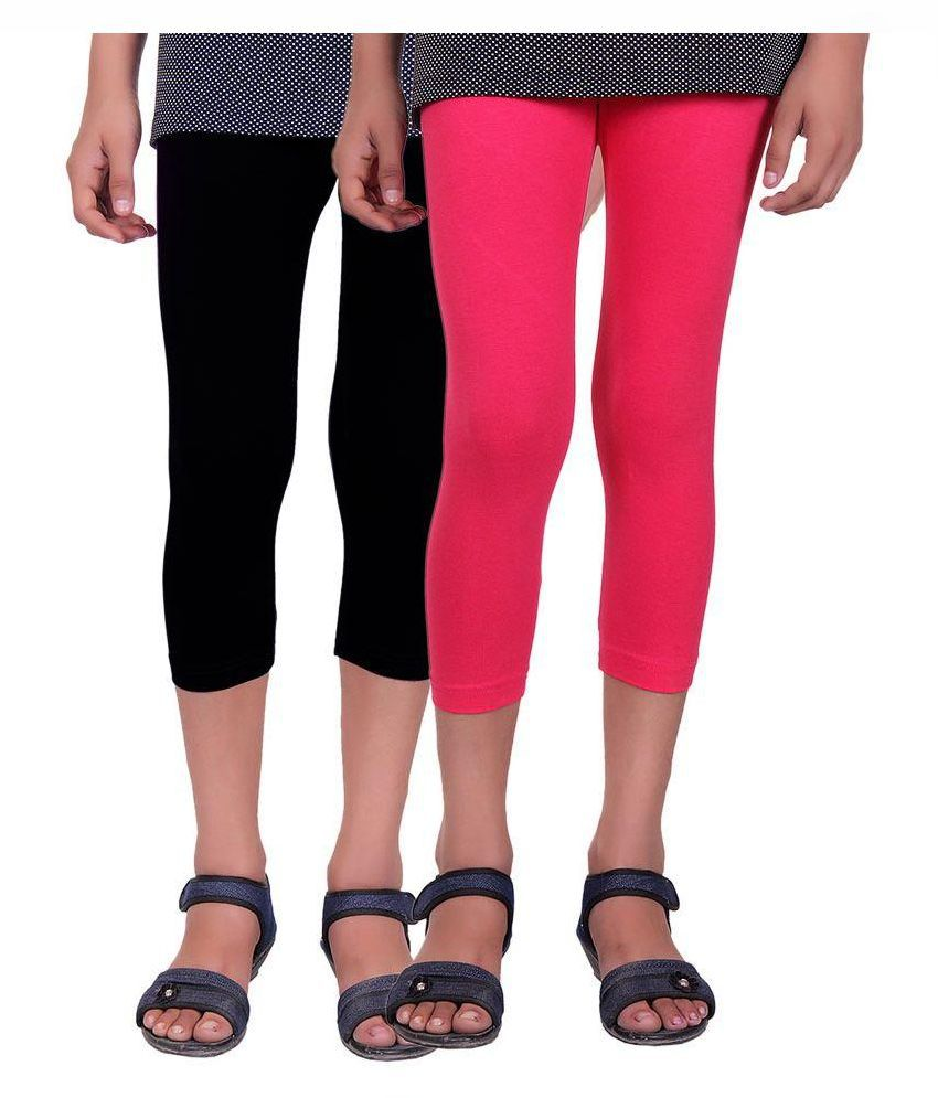 Alisha Cotton Lycra Kids Capri - Pack of 2