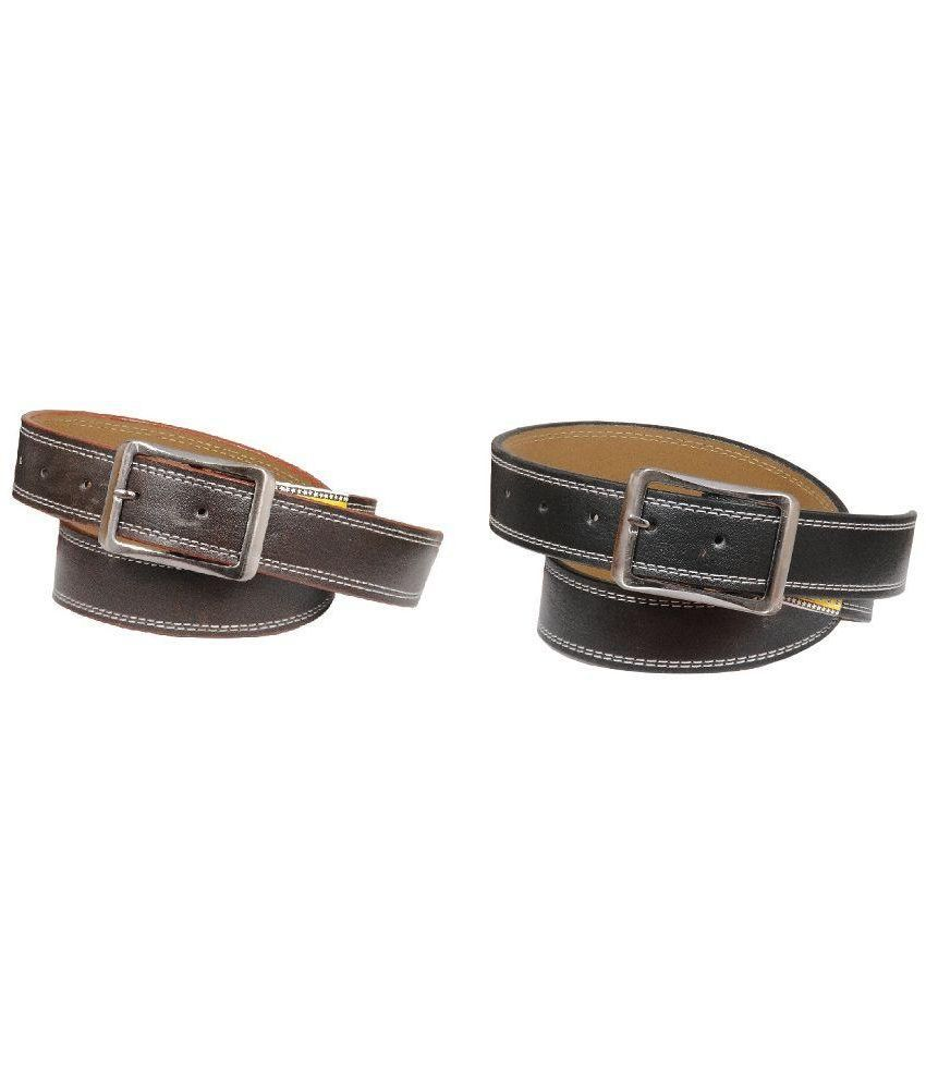 Blue Indians Black Casual Belt for Men - Pack of 2