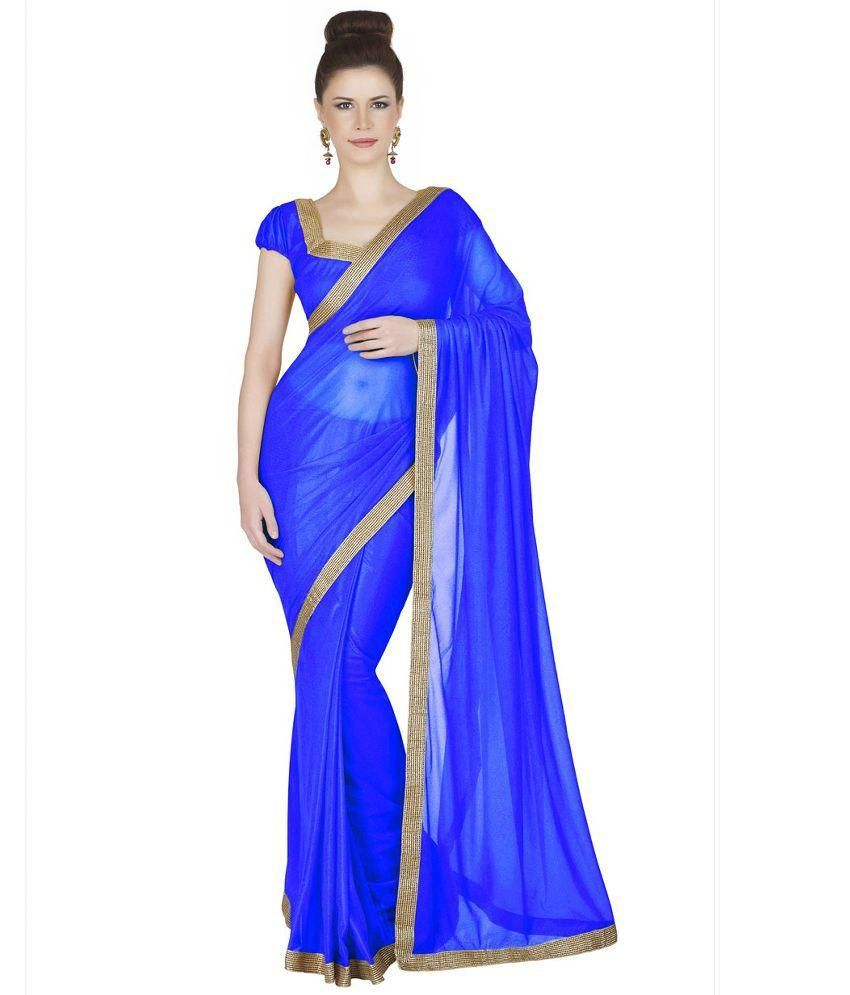 Fashionnow Blue Satin Saree
