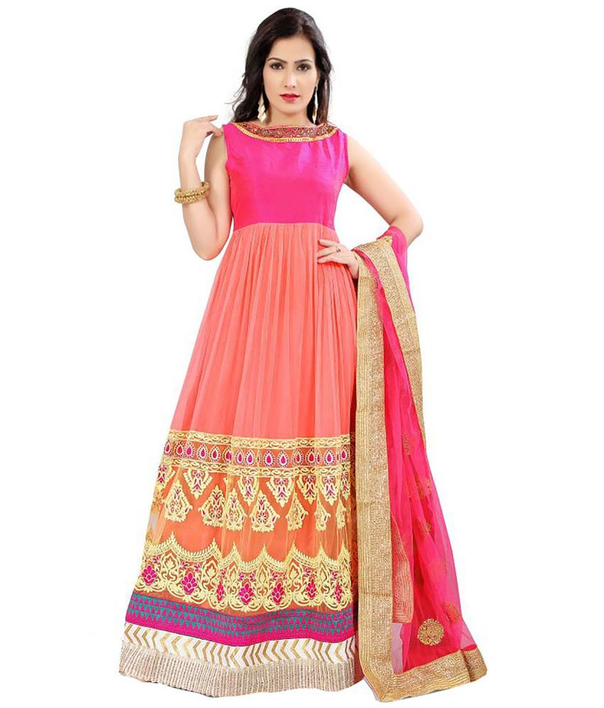 Ishin Pink Georgette Anarkali Gown Unstitched Dress Material