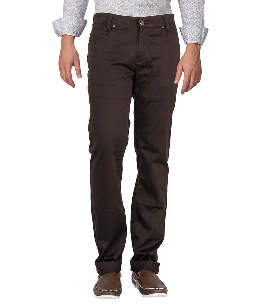 Mufti Brown Narrow Fit Jeans