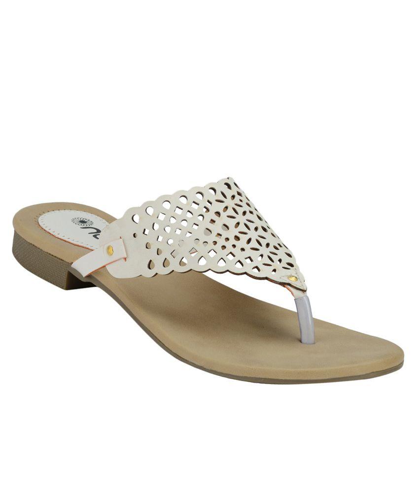 Nell White Flat Slip-Ons