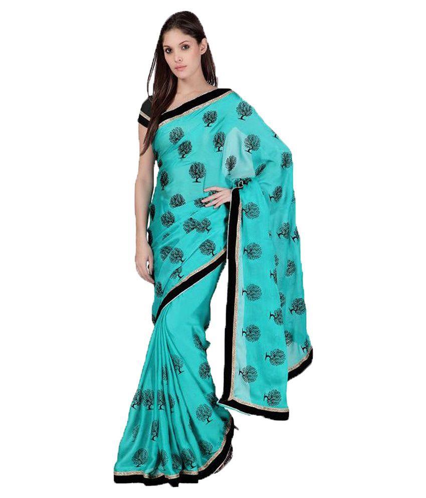 Sareeshop Designer Sarees Turquoise Chiffon Saree