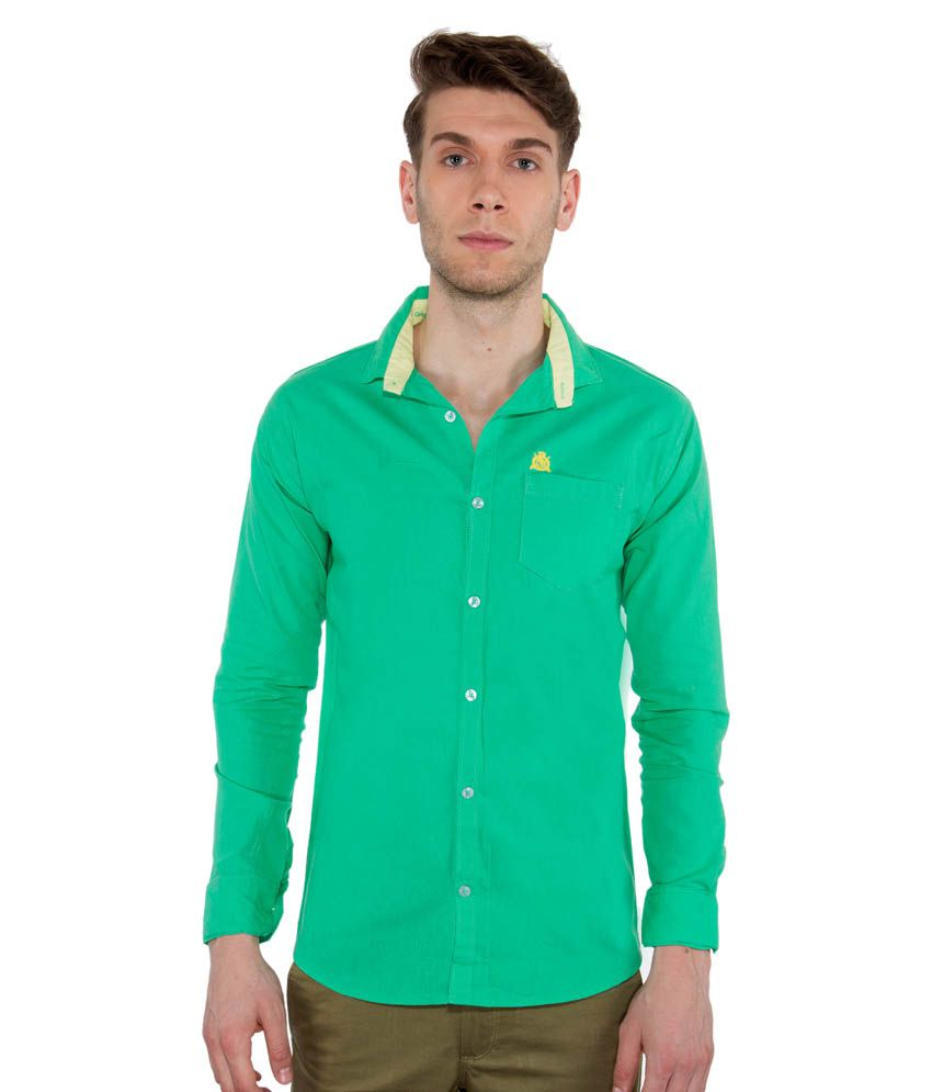 Vasnm Green Casuals Slim Fit Shirt