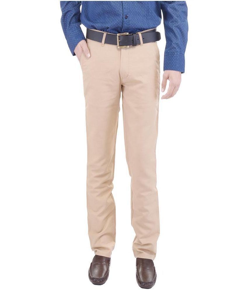 Wills & Scott Beige Regular Fit Flat Trousers