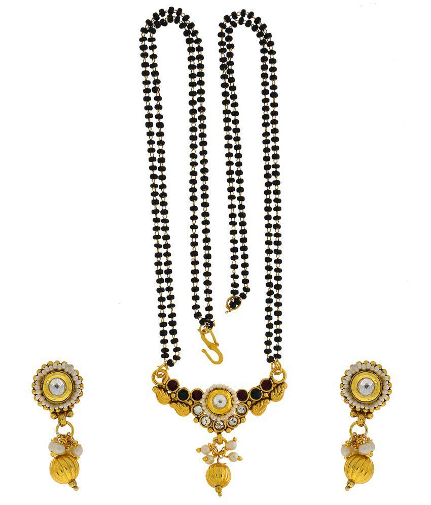 Anuradha Art Alloy Gold Plating Cubiz Zirconia Studded Multi Coloured Mangalsutra Set