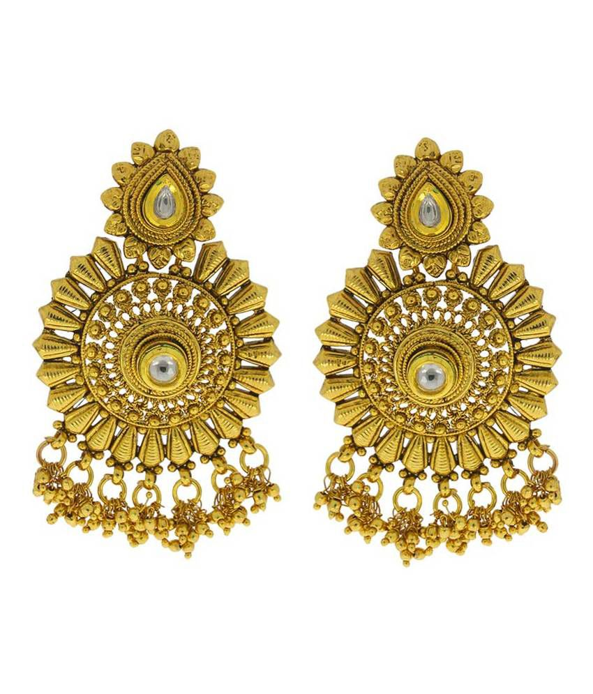 Anuradha Art Alloy Gold Plating Cubiz Zirconia Studded Gold Coloured Earrings