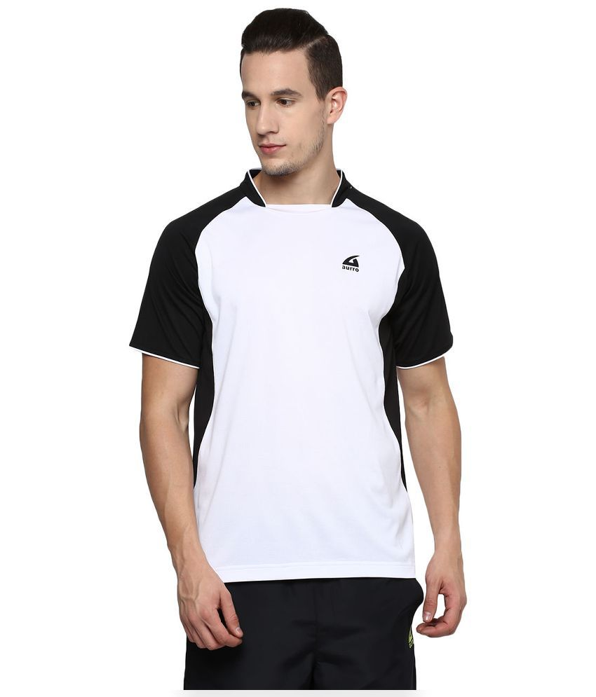 Aurro Sports White Round T Shirt