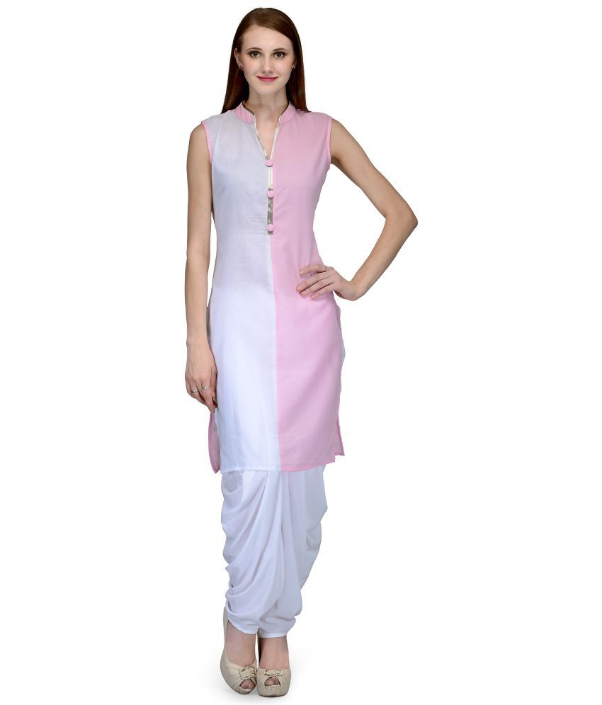 Natty India White Cotton Dhoti Suit