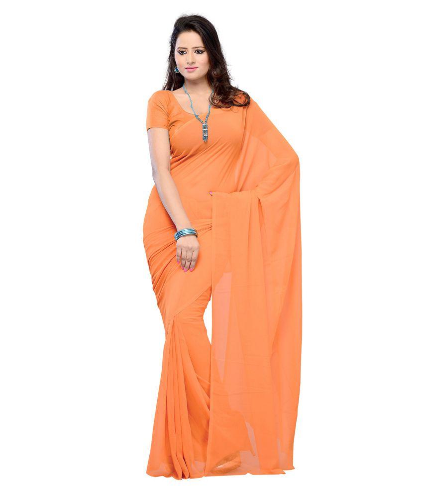 Sonika Orange Chiffon Saree