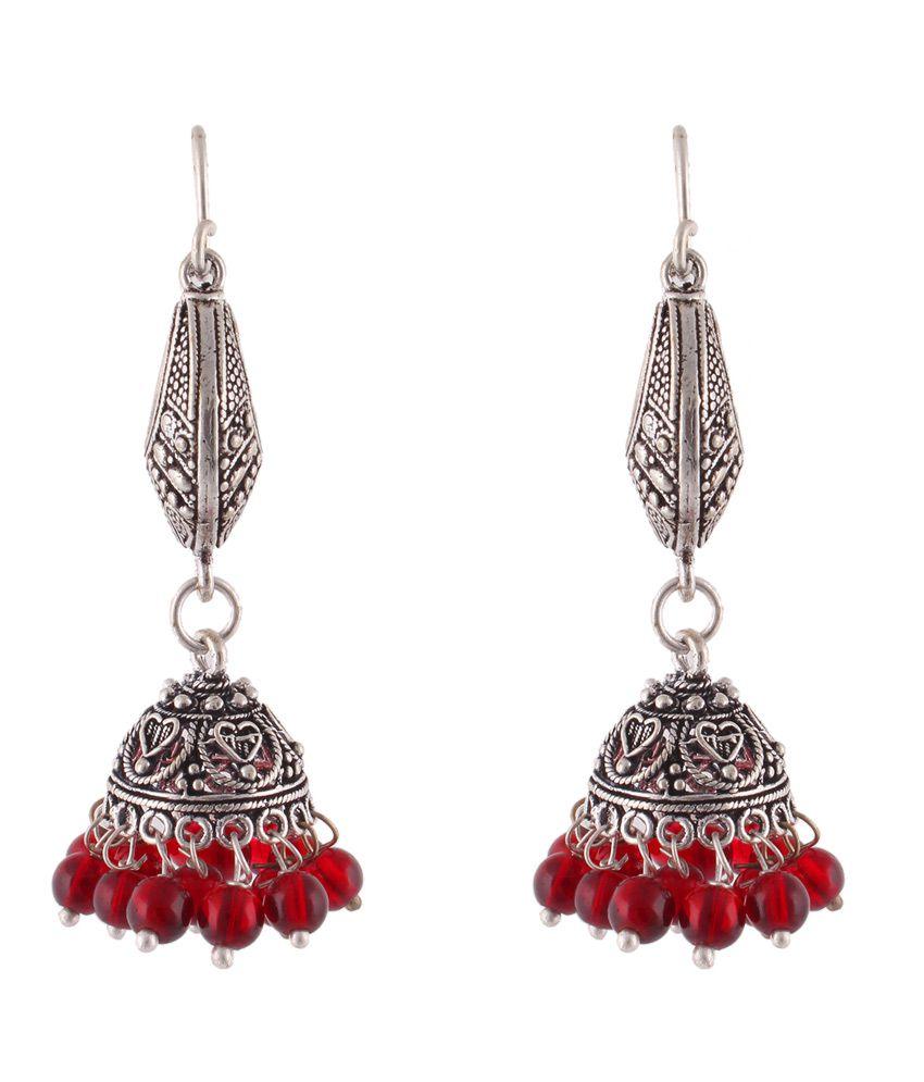 Fasherati Brass Oxidised Studded Silver Coloured Earrings