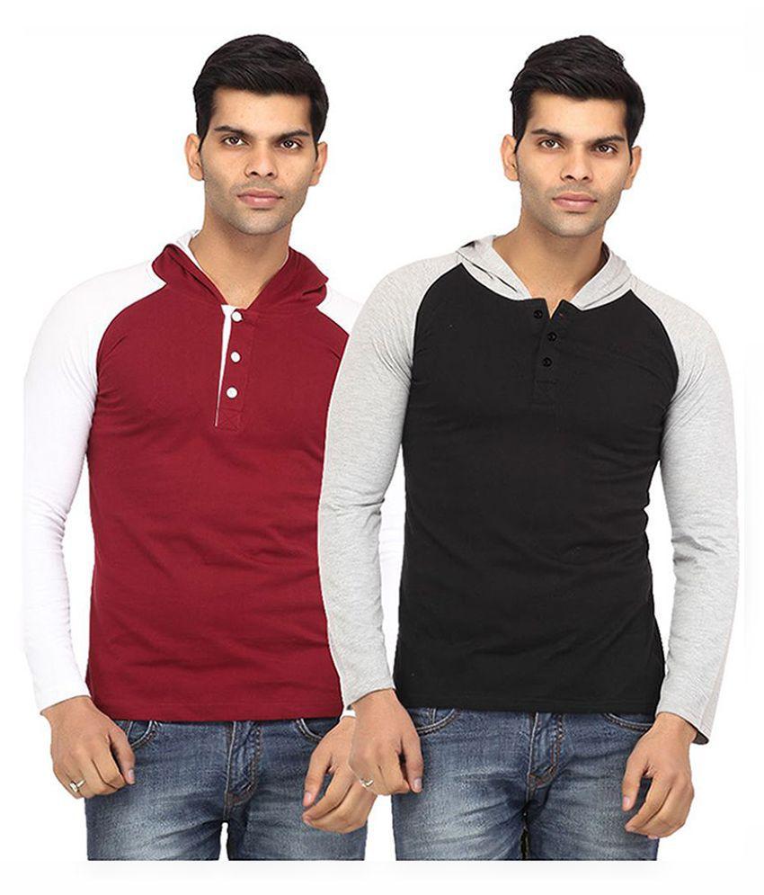 Leana Multi Hooded T Shirt Pack of 2