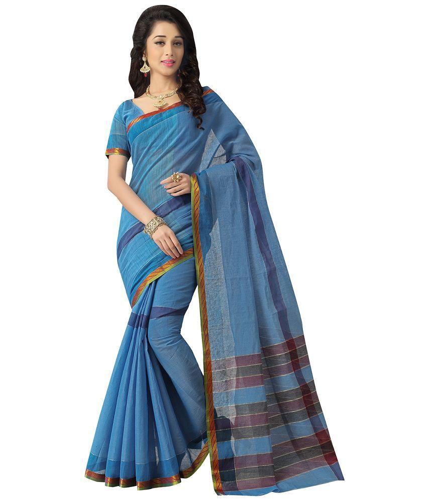 463bcb46db Saree Exotica Blue Cotton Saree - Buy Saree Exotica Blue Cotton Saree Online  at Low Price - Snapdeal.com