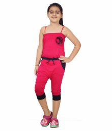 Naughty Ninos Pink Cotton Jumpsuits For Girls