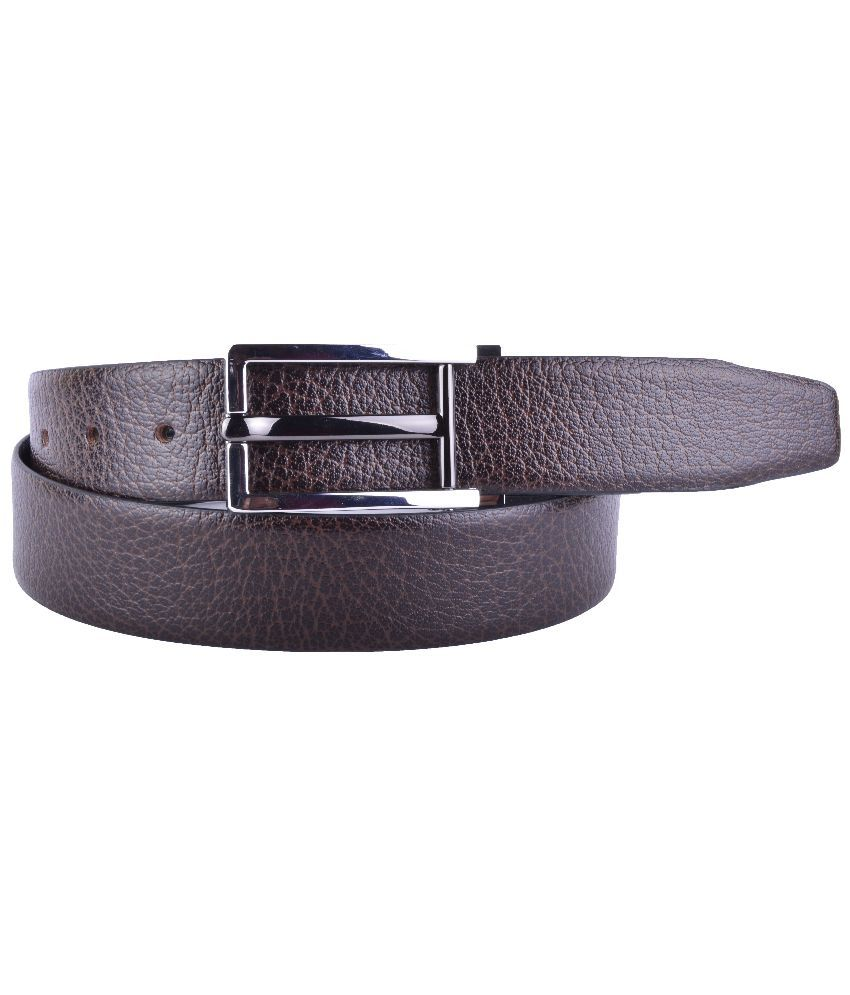 Callesto Brown Leather Reversible Belt for Men