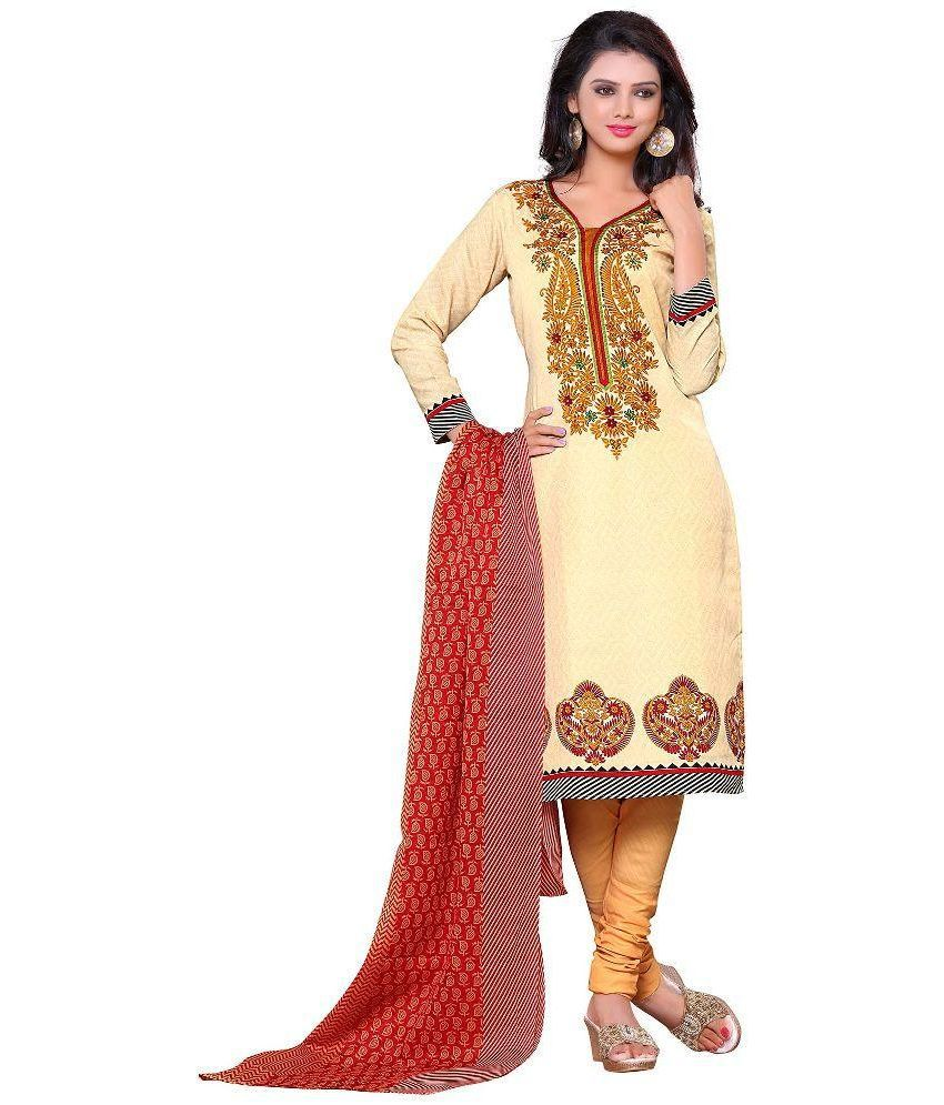 Gopi Creation Beige Cotton Straight Unstitched Dress Material