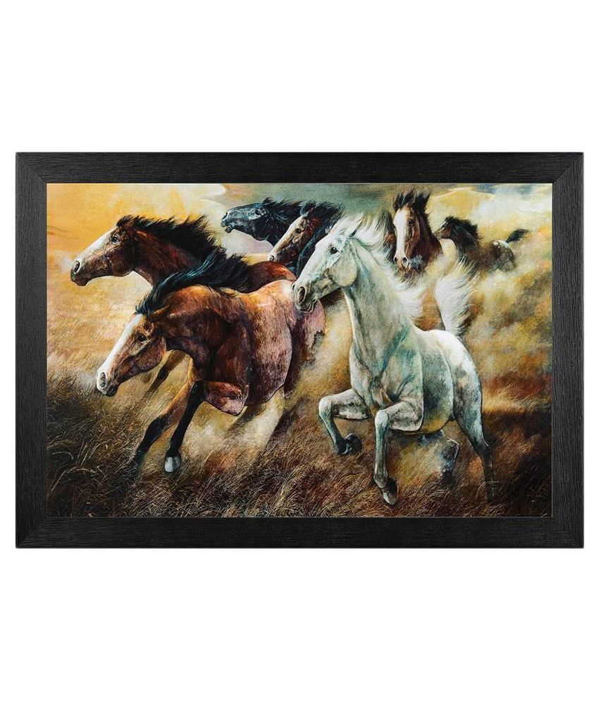 JAF Textured Seven Horse Painting with Frame