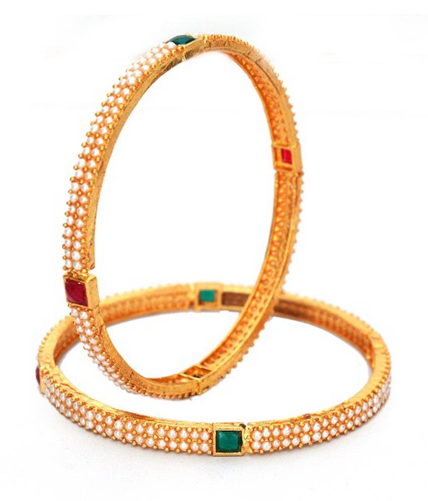 Ankur Imitation Jewellery Brass Gold Plating American Diamonds Studded Gold Colored Bangle Set