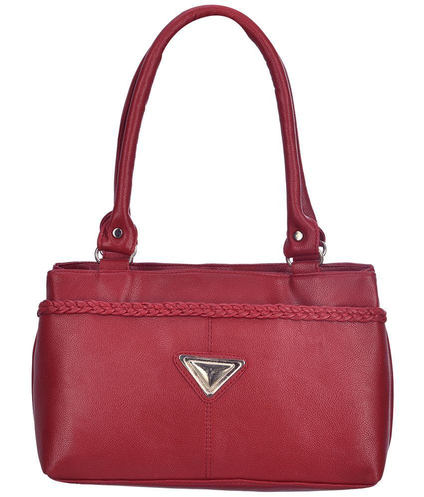 Noble Designs Maroon P.U. Shoulder Bag