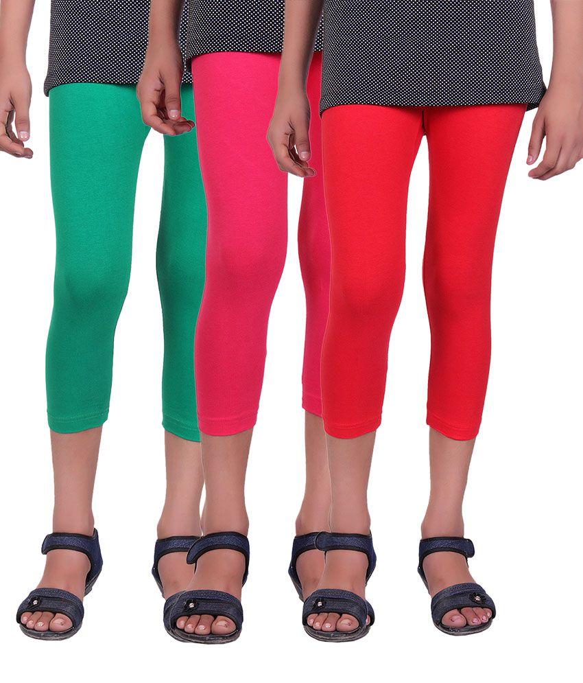 Alisha Cotton Lycra Kids Capri - Pack of 3