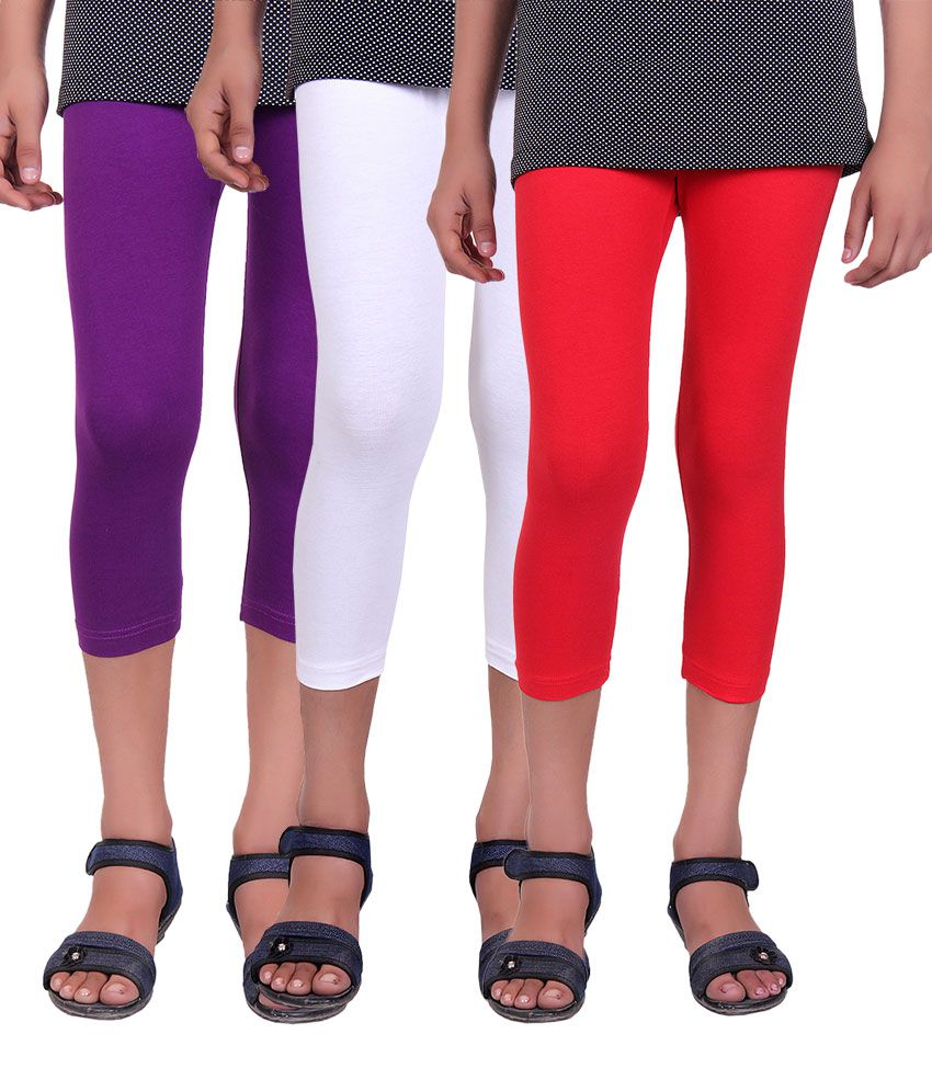 Alisha Multicolour Cotton Lycra Capris for Girls - Pack of 3