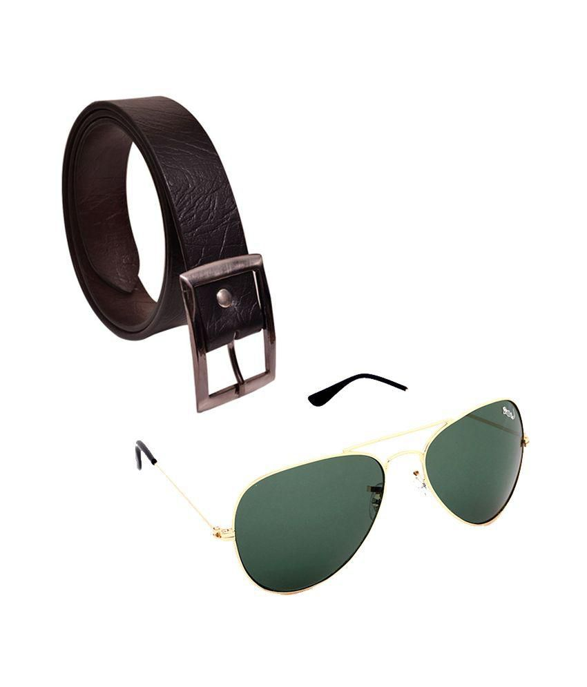 Elligator Combo of Belt and Sunglasses for Men