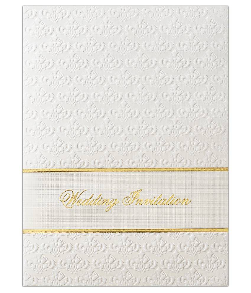 King of Cards White-Gold Wedding Invitation Cards KNK3855 - Pack of ...