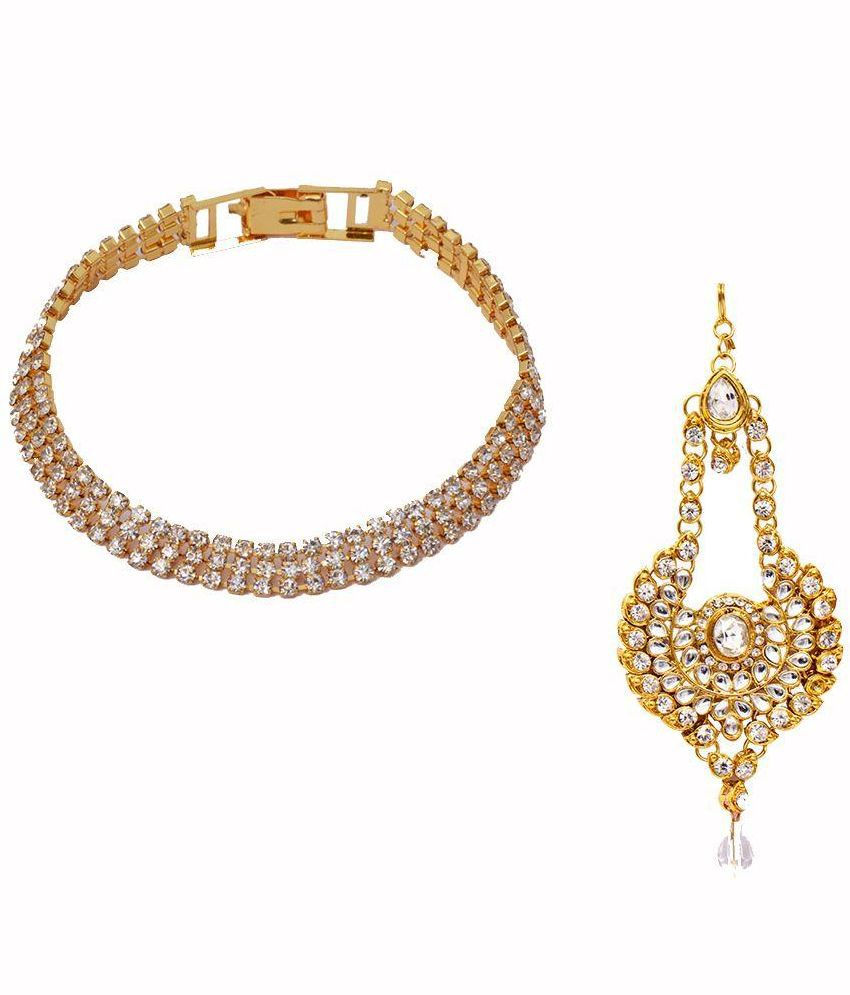 Ratnakar Alloy Gold Plating Studded Gold Coloured Combo