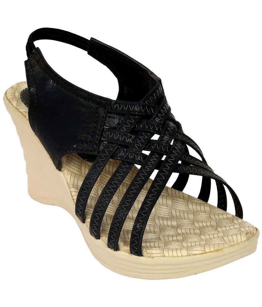 Remson India Black Wedges Heels