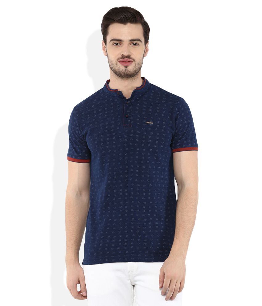Spykar Navy Printed T-Shirt