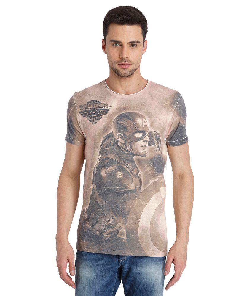 Jack & Jones Beige Round Neck Printed T Shirt