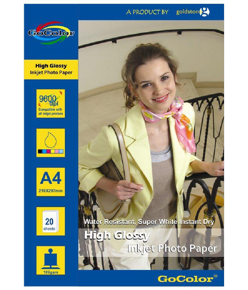 Gocolor High Glossy Inkjet Photo Paper 180 GSM A4 Size 20 Sheets