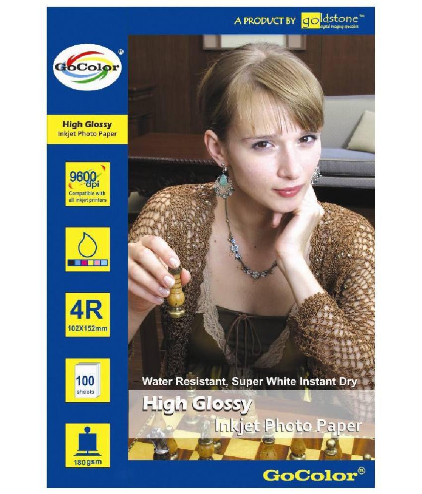 Gocolor High Glossy Inkjet Photo Paper 180 GSM 100 Sheets 4R Size