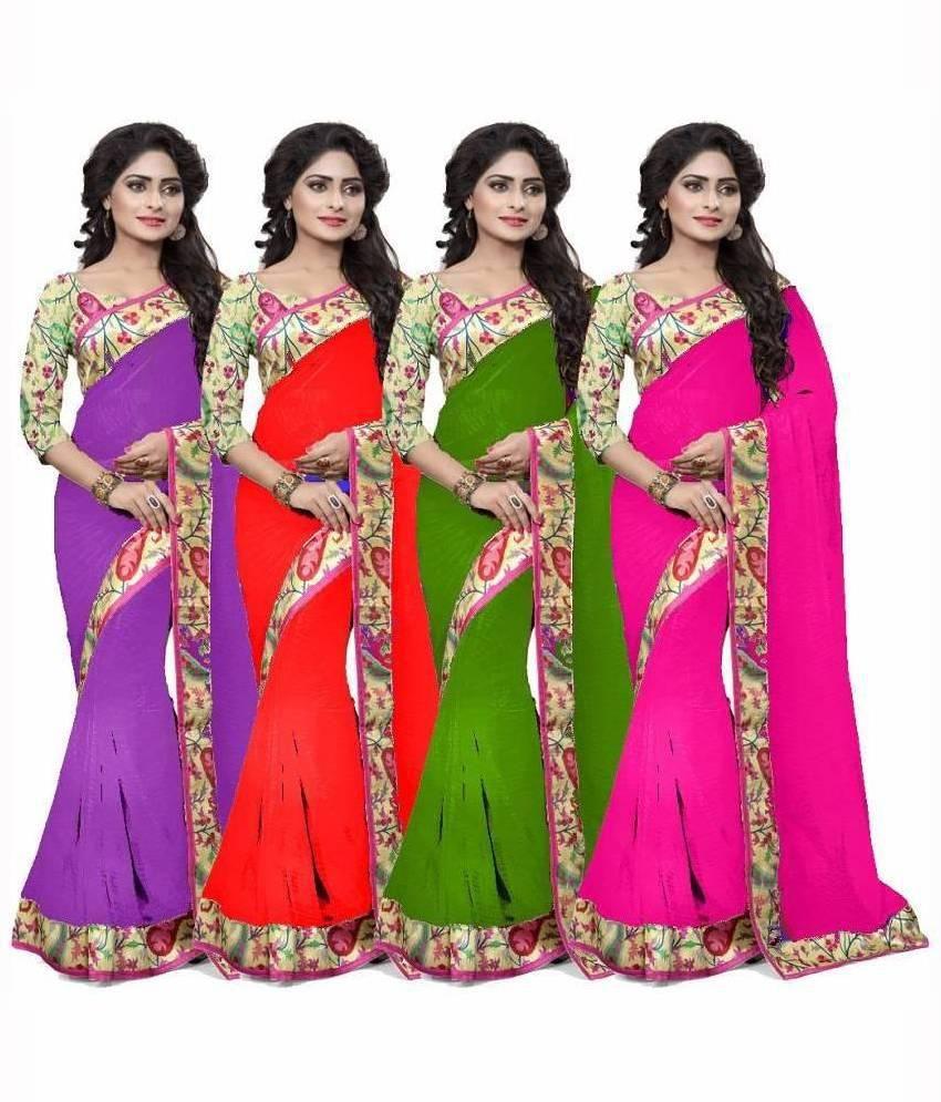Shree Nakoda Fabrics Multicoloured Chiffon Saree Combos
